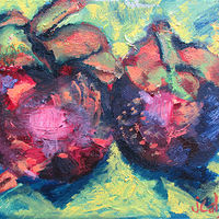 Oil painting Mangosteens by Jasmine Calix