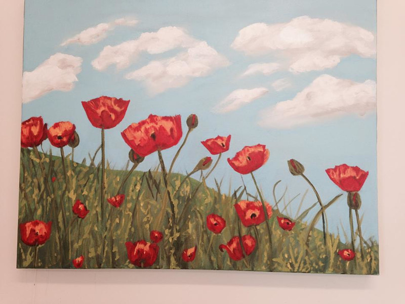 Oil painting Poppies by Jill  Tompkins