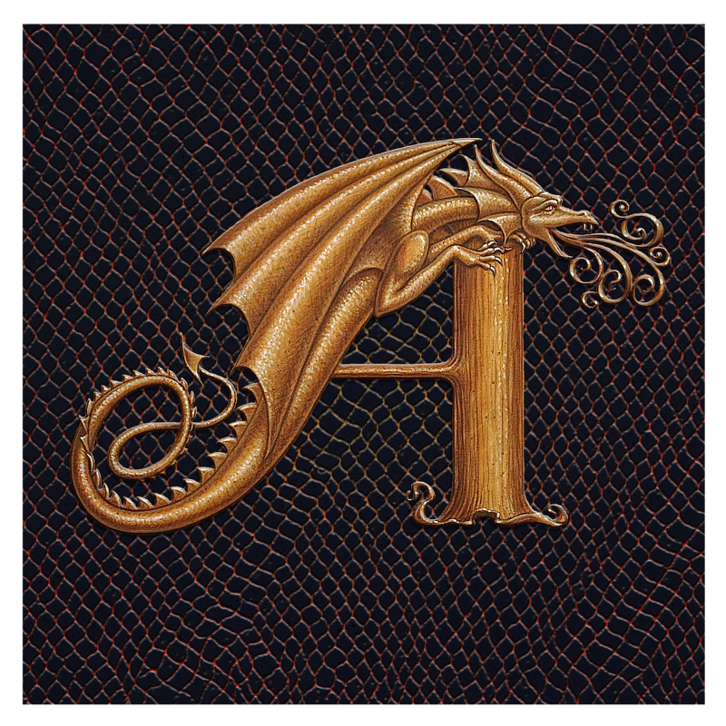 Print Dracoserific Letter A, Gold on Jet Black Square  by Sue Ellen Brown