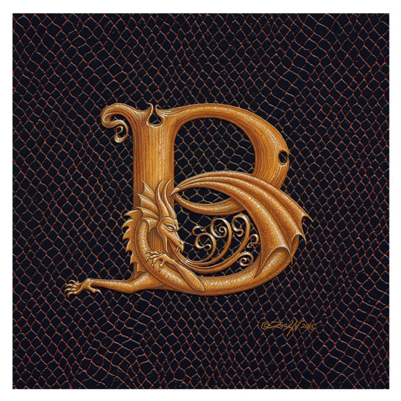 "Print Dracoserific Letter B, Gold on Jet Black 8x8""Square by Sue Ellen Brown"