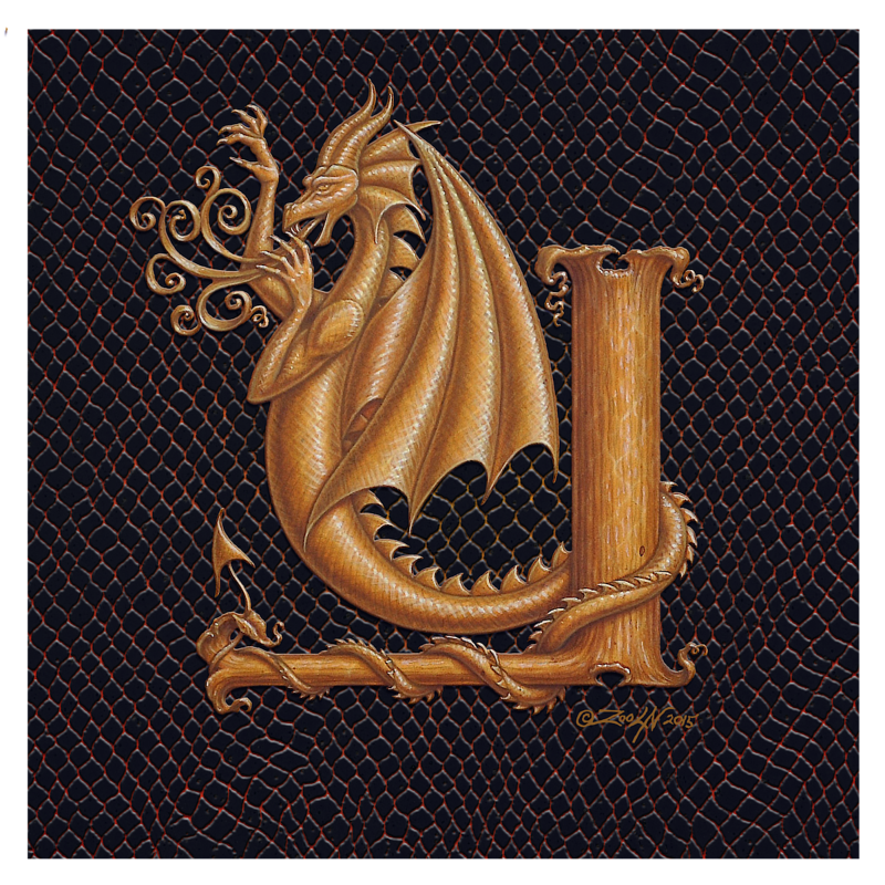 "Print Dracoserific Letter Y, Gold on Jet Black 8x8""Square by Sue Ellen Brown"