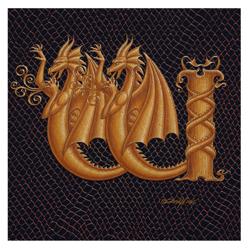 "Print Dracoserific Letter W-1.0, Gold on Jet Black 8x8""Square by Sue Ellen Brown"