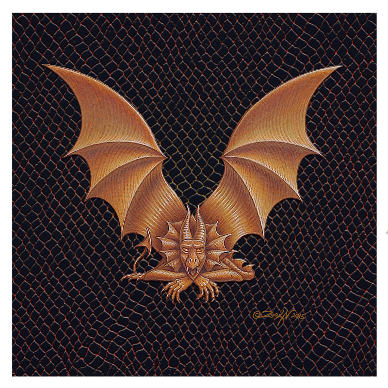 "Print Dracoserific Letter V, Gold on Jet Black 8x8""Square by Sue Ellen Brown"