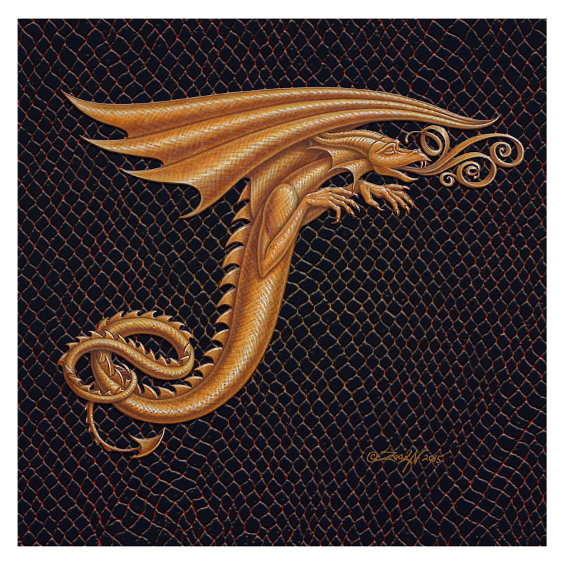 "Print Dracoserific Letter T - 2.0, Gold on Jet Black 8x8""Square by Sue Ellen Brown"