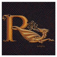 "Print Letter R, Gold 8x8"" by Sue Ellen Brown"