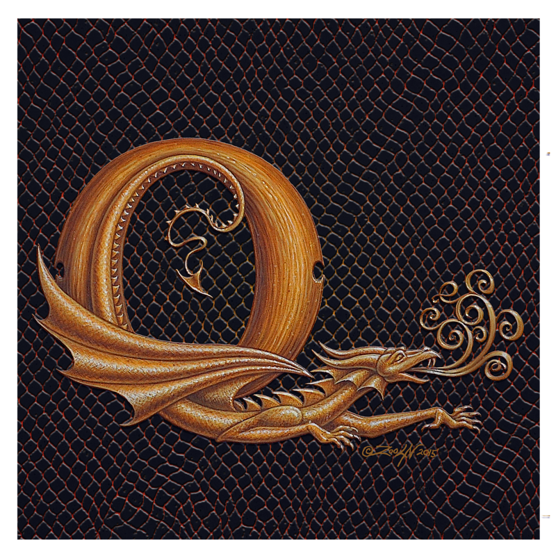 "Print Letter Q, Gold 8x8"" by Sue Ellen Brown"
