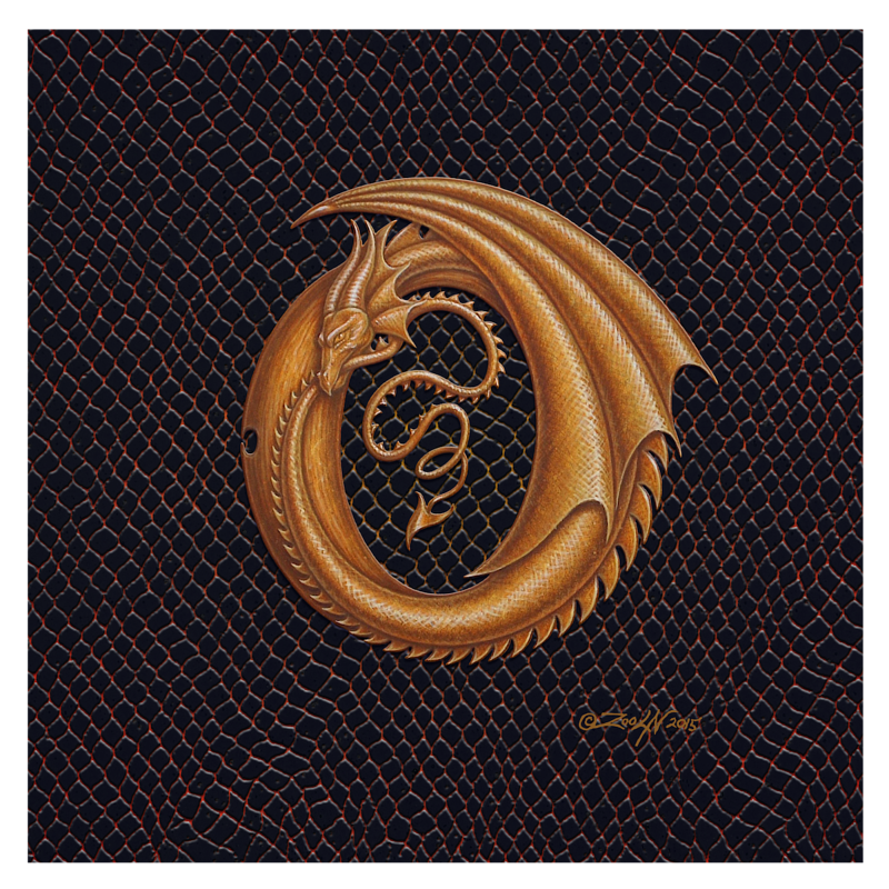 "Print Letter O, Gold 8x8"" by Sue Ellen Brown"