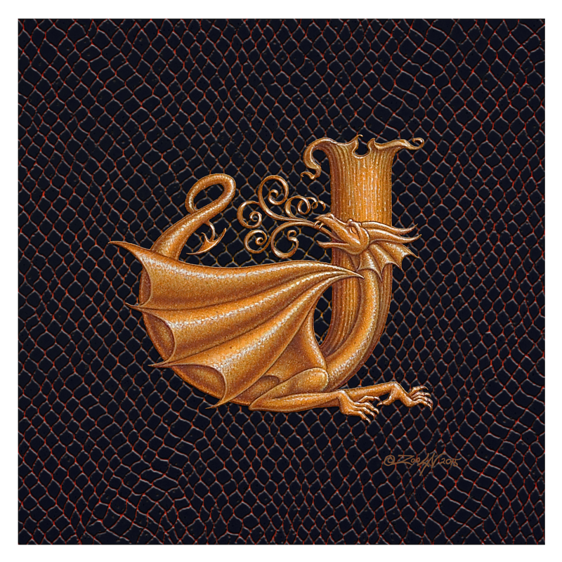 "Print Letter J, Gold 8x8"" by Sue Ellen Brown"