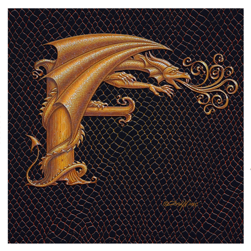 "Print Letter F, Gold 8x8"" by Sue Ellen Brown"