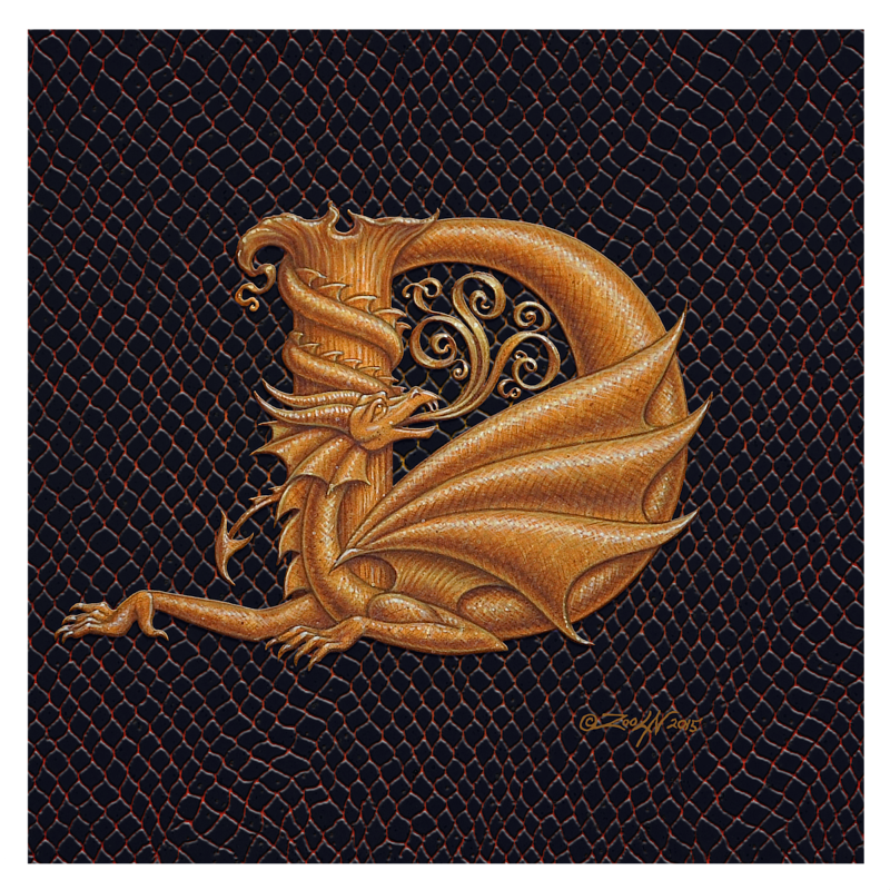 "Print Dracoserific Letter D, Gold on Jet Black 8x8""Square by Sue Ellen Brown"