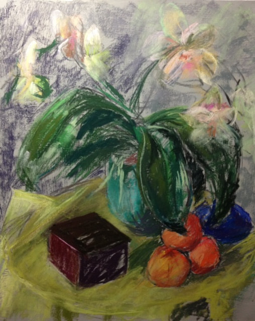 Nora's orchid with clementines by Cynthia Nockold