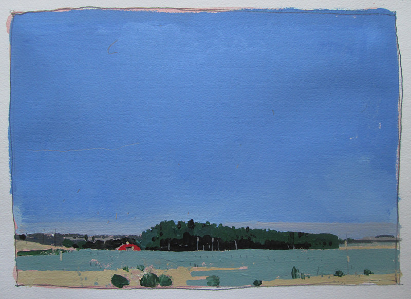 Acrylic painting Little Barn, July 4 by Harry Stooshinoff
