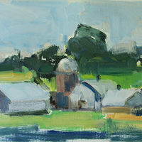 "Denmark Farm, oil on paper,  8 1/4"" x 11 1/2""  by Susan Horn"