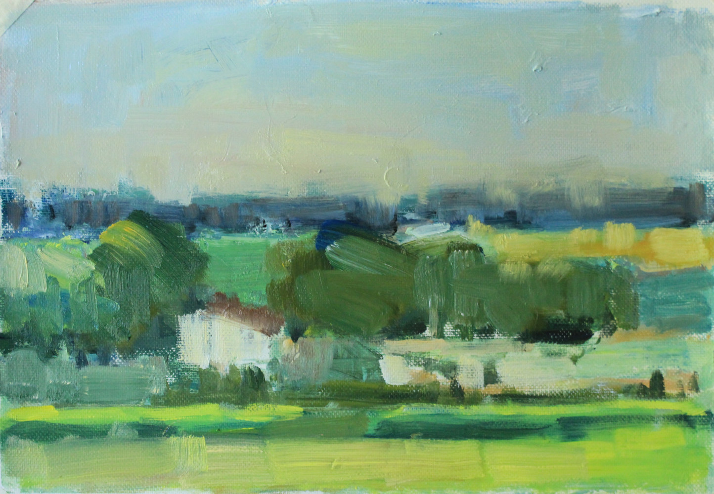 "Denmark Farm ll, oil on paper, 7 3/4"" x 11 1/4"" by Susan Horn"