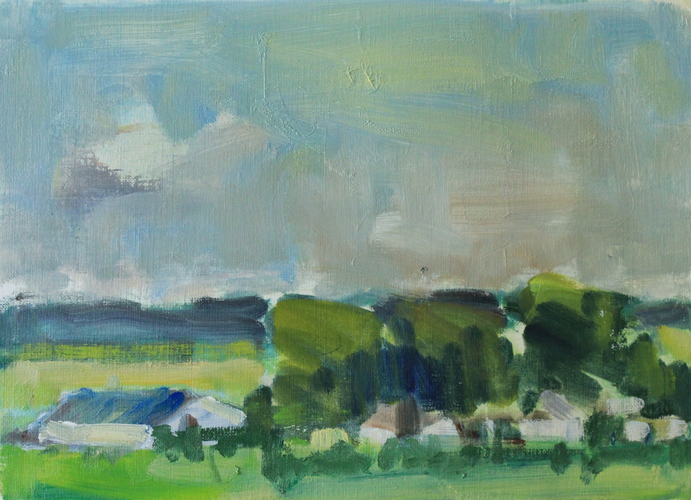 Denmark Farm lll , oil in paper,  by Susan Horn