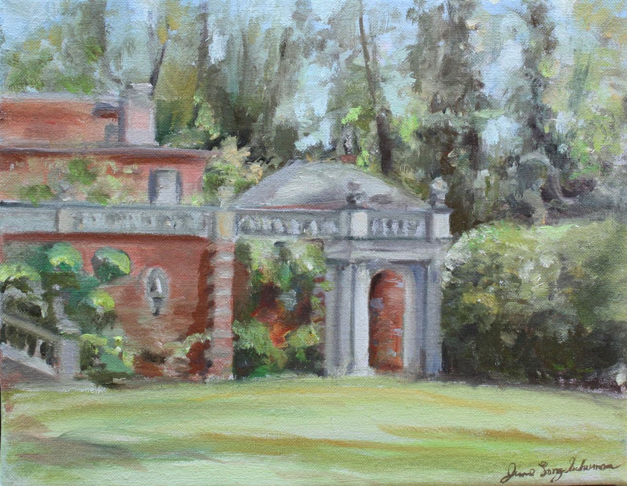 Oil painting Westbury Garden by June Long-schuman