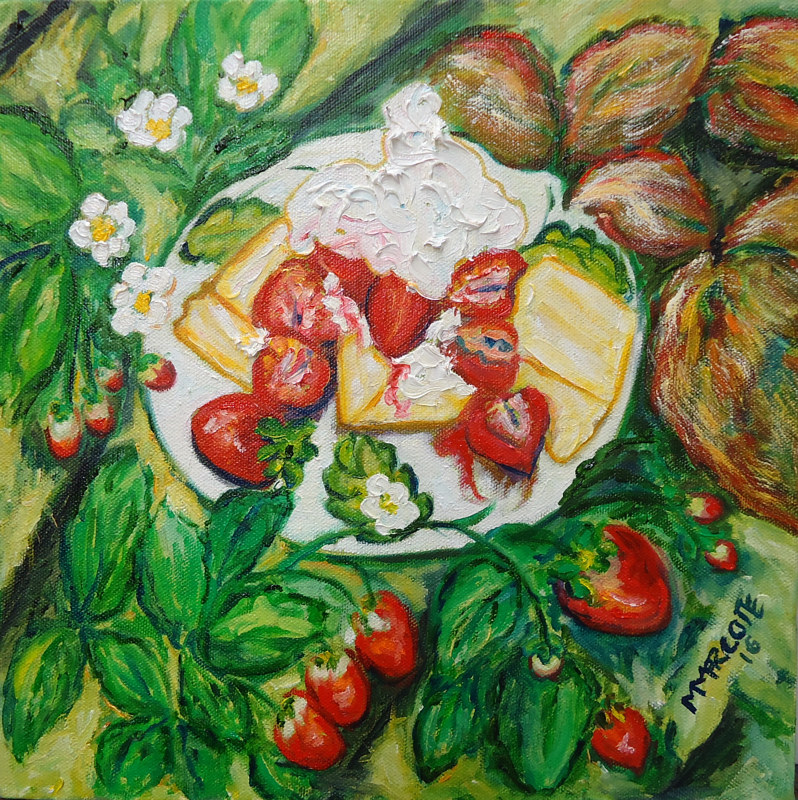 Oil painting Strawberry Shortcake - The Seasons of Mothers and Daughters by Michelle Marcotte