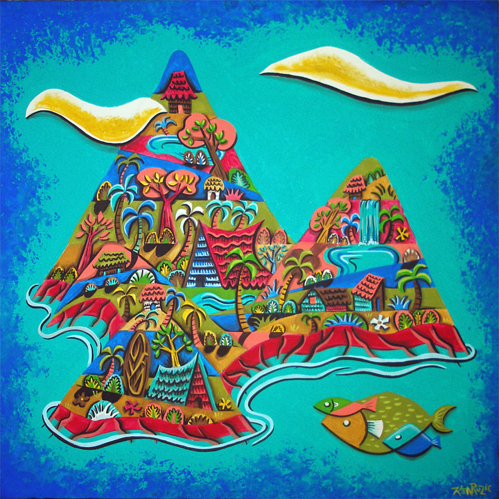 "Acrylic painting ""Tropical Village"" by Kenneth M Ruzic"