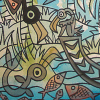 "Watercolor ""the Appearance of the Bird Fish"" by Kenneth M Ruzic"