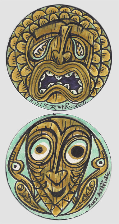 "Drawing ""Ku""  ""Papua New Guinea"" Coasters by Kenneth M Ruzic"
