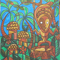 "Acrylic painting ""Village Tiki"" by Kenneth M Ruzic"