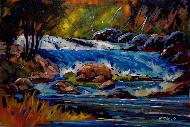Blue River   Acrylic 24x36 2016 by Brian  Buckrell