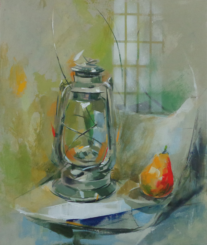 Acrylic painting Lamp with Pear by Eunice Sim