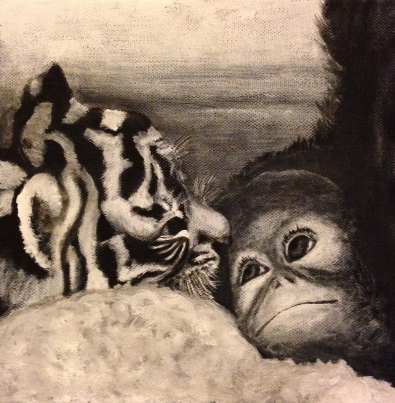 Acrylic painting Baby Orangutan and Tiger by Elizabeth Mercer