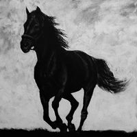 Acrylic painting Horse Running by Elizabeth Mercer
