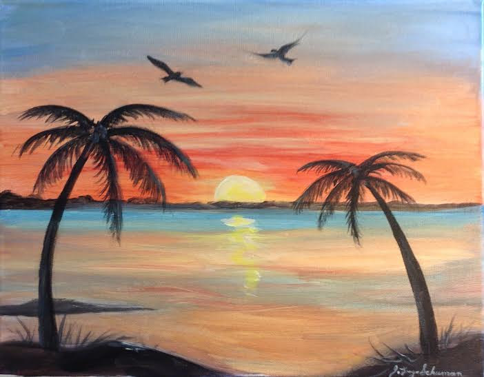 Acrylic painting Carribean sunset by June Long-schuman