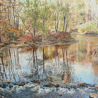 "© Jeffrey M Green. ""Bushkill Creek Relfections"" 16 x 20"", colored pencils. by Jeffrey Green"