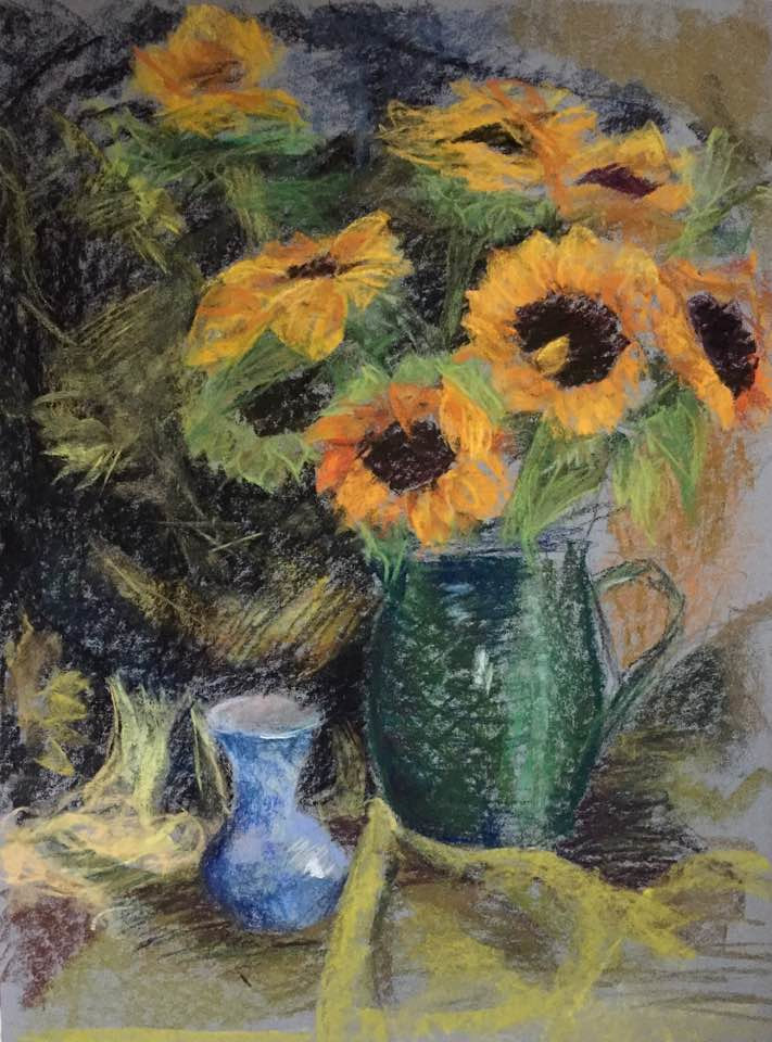 Sunflowers and Delft Vase by Cynthia Nockold