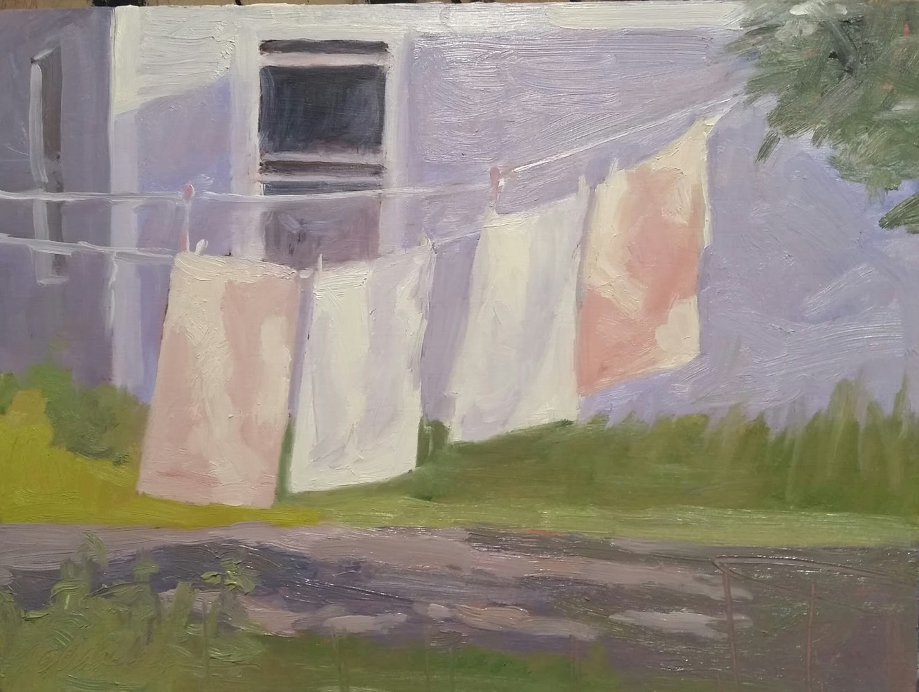 WashDay in Keene Valley 9x12in oil by Michael  Gaudreau