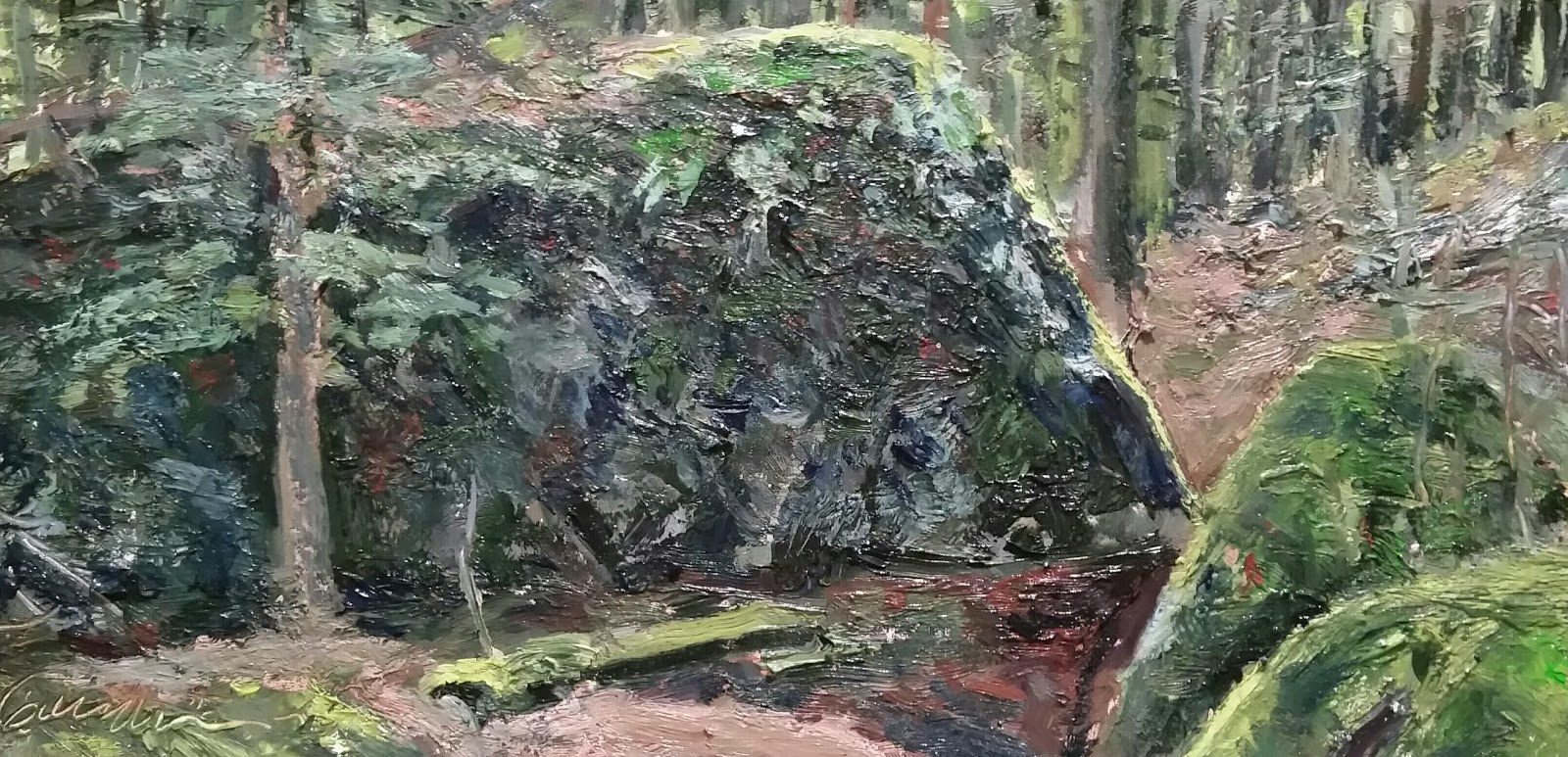 Painting Mc Clelland's Rock 6x12in oil by Michael  Gaudreau