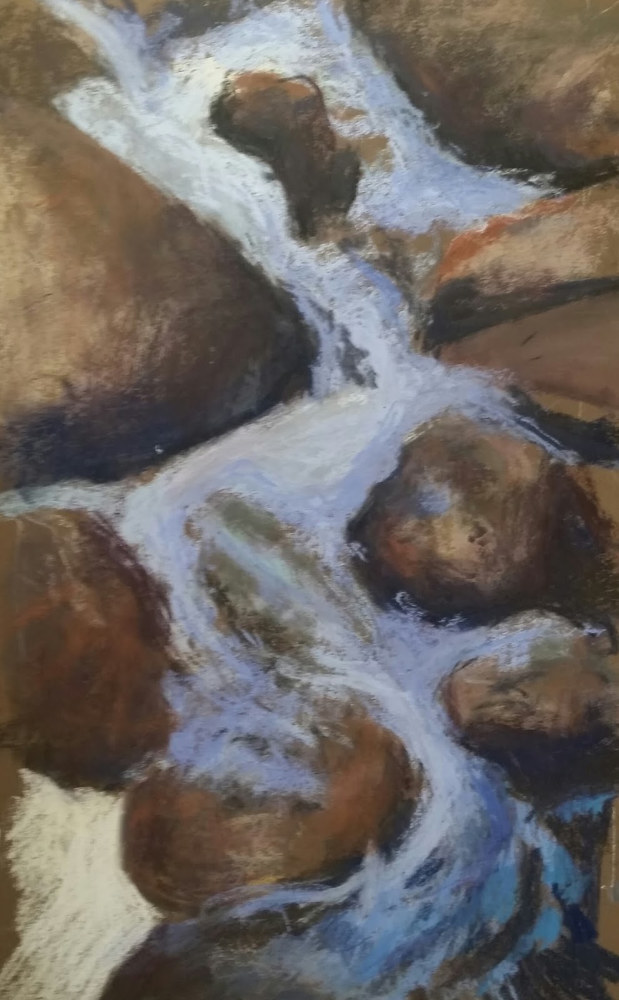 Johns Brook Cascade- pastel  12x 17 in in wide frame  by Michael  Gaudreau