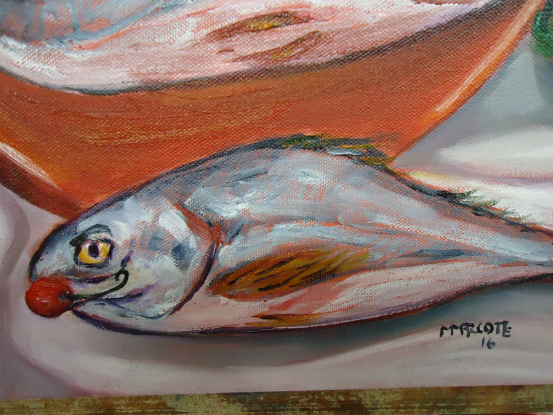 Painting Salvadore's Fish close up July 22 by Michelle Marcotte