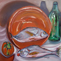 Oil painting Salvadore's Fish by Michelle Marcotte