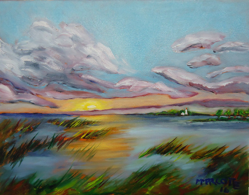 Oil painting Miramichi Bay Port Elgin Ontario, sunset Sunday July 17 painted July 19 by Michelle Marcotte