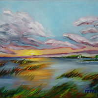 Painting Miramichi Bay Port Elgin Ontario, sunset Sunday July 17 painted July 19 by Michelle Marcotte