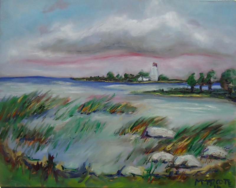 Oil painting Miramichi Bay Port Elgin Ontario, daytime July 18 by Michelle Marcotte