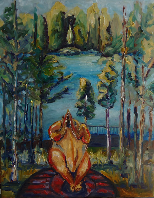 Oil painting Doing Hot Yoga at the Lake June 4 by Michelle Marcotte