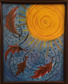 Mixed-media artwork Autumn Sun by Jen Fisher