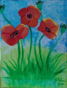 Acrylic painting Poppies by Jen Fisher