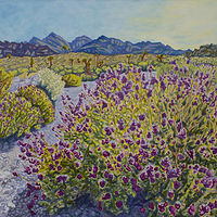 Oil painting Mojave Sage  by Crystal Dipietro