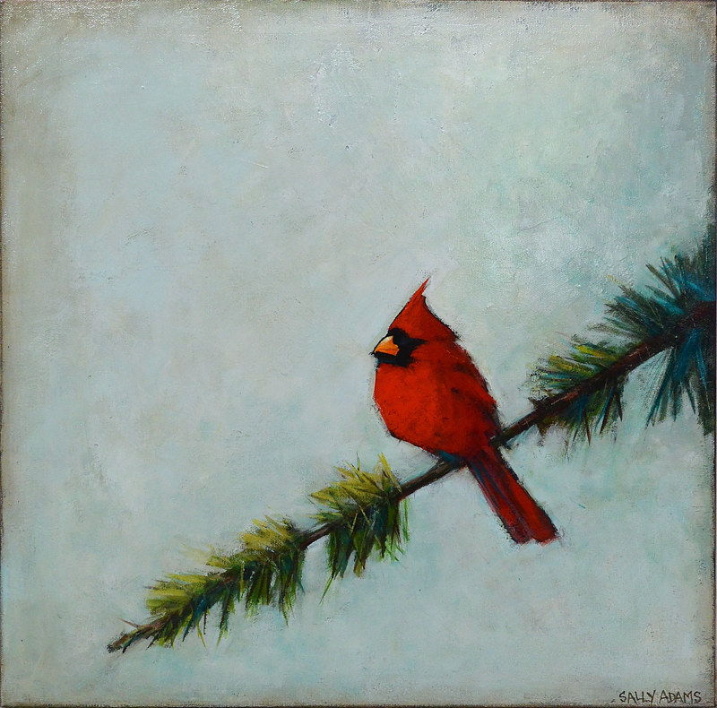 Acrylic painting Red Friend by Sally Adams