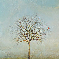 Acrylic painting Cardinal13 by Sally Adams