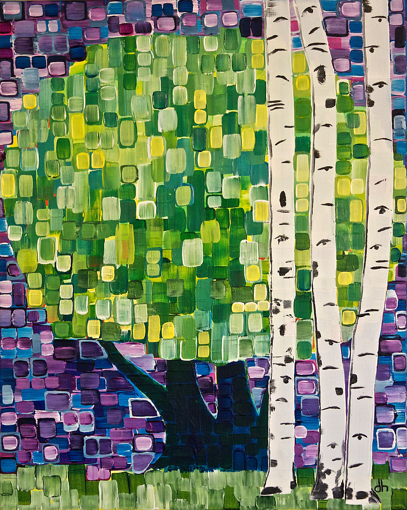 Acrylic painting Birches by Donna Howard