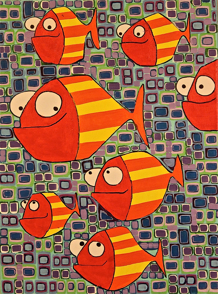 Acrylic painting Fish During Wartime by Donna Howard