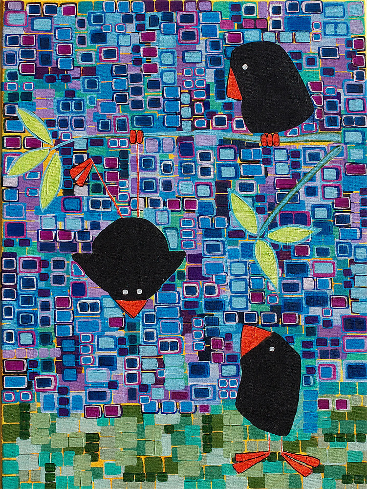 Acrylic painting Bird Tricks by Donna Howard
