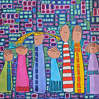 Acrylic painting Hair Family by Donna Howard